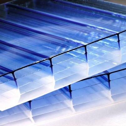 Синий  сотовый поликарбонат 4мм SOTON-PREMIUM H, 2.1*12м