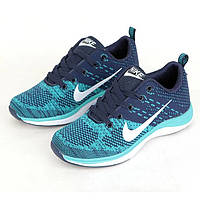 Кроссовки Nike Flyknit Lunar Blue Синие женские реплика