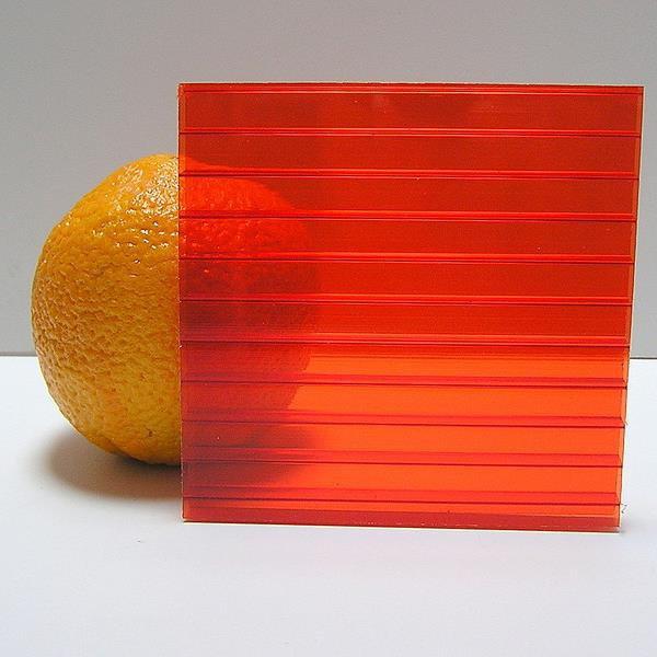 Красный  сотовый поликарбонат 4мм  VIZOR  2.1*12м