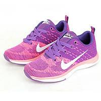 Кроссовки Nike Flyknit Lunar Violet Pink Фиолетовые женские реплика