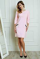 Стильное прямое платье розового цвета с ажурными зпмочкамы