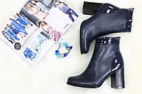 Ботиночки кожаные на каблуке демисезонные темно-синие