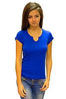 Синяя футболка женская спортивная на лето с коротким рукавом  однотонная хлопок хб трикотажная (Украина)