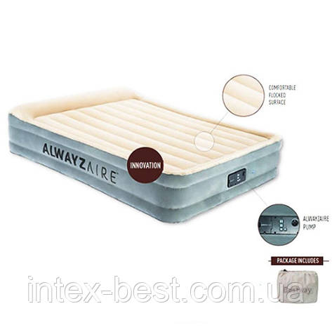 Двуспальная надувная кровать Bestway 67566 (203-152-43 см) с встроенным электронасосом (203-152-43 см), фото 2