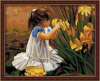 """Акриловий живопис за номерами """"Дівчинка, що збирає букет"""" полотно 40*50 см без коробки ТМ Ідейка"""