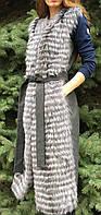 Кашемировый жилет с мехом чернобурки, длинный