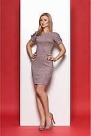 Женское облегающее платье с открытой спиной  970 цвет пудровый размер 44-50