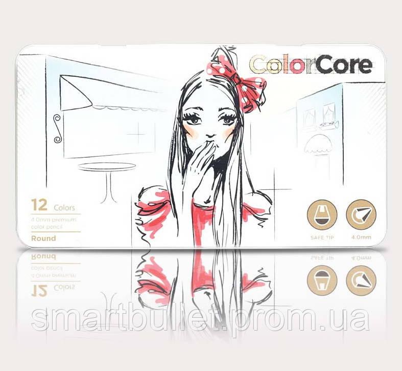 Цветные карандаши marco ColorCore в мет. коробке 12 цветов+1 графитный 3130-12TN