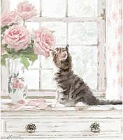 """Акриловий живопис за номерами """"Запах троянд"""" полотно 40*40 см без коробки ТМ Ідейка"""
