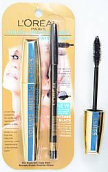 Тушь для ресниц  Loreal Million lashes+карандаш