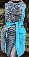 Женский кашемировый жилет с мехом чернобурки, фото 1