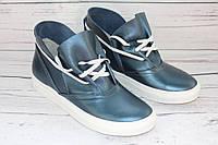 Ботинки женские кожаные на весну 503-1, цвет синий