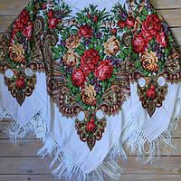 Праздничный женский платок с цветами (130х1140см, белый, 80%-шерсть)