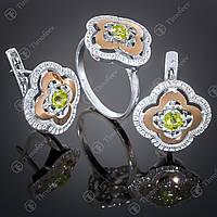 Серебряный набор украшений с хризолитом и фианитами. Артикул А-408