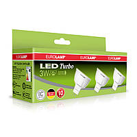 Промо-набір EUROLAMP LED Лампа TURBO NEW MR16 3W GU5.3 3000K акція 3in1 (20)