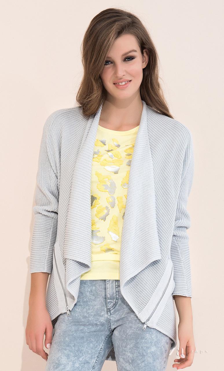 Женский модный кардиган серого цвета с длинным рукавом. Модель Zyta Zaps, коллекция весна-лето