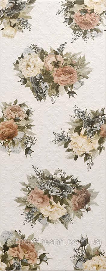 Плитка Интеркерама Арабеско 23x60 белый цветок