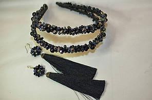 Черный комплект двойной ободок и сереги кисточки