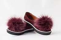 Слипоны женские из кожи и натурального меха / Women's slipons leather and natural fur