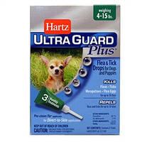 Hartz (Харц) UltraGuard Plus 4в1 Капли от блох, блошиных яиц, клещей и комаров для собак от 2 до 7кг, 1пипетка