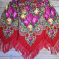 Яркий женский платок красного цвета (130х140см, красный, 80%-шерсть)