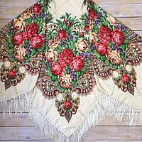 Нежный женский платок большого размера (135х135см, бежевый, 80%-шерсть)