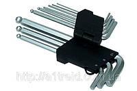 Набор ключей имбусовых с шаром, удлиненных, Cr-V, 9шт. (2–10 мм)