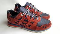 Мужские кожаные кроссовки  Asics gel style bordo