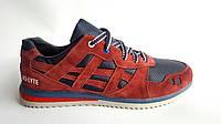 Мужские кожаные кроссовки  сетка Asics gel style bordo