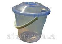 Ведро пластиковое с крышкой прозрачное, пищевое, 12 л