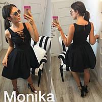 Платье нарядное короткое, ткань мемори, в комплекте подьюбник, цвет красный и черный мпро№ 6003