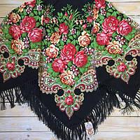 Большой черный  платок с цветами для девушек (135х135см, черный, 80%-шерсть)