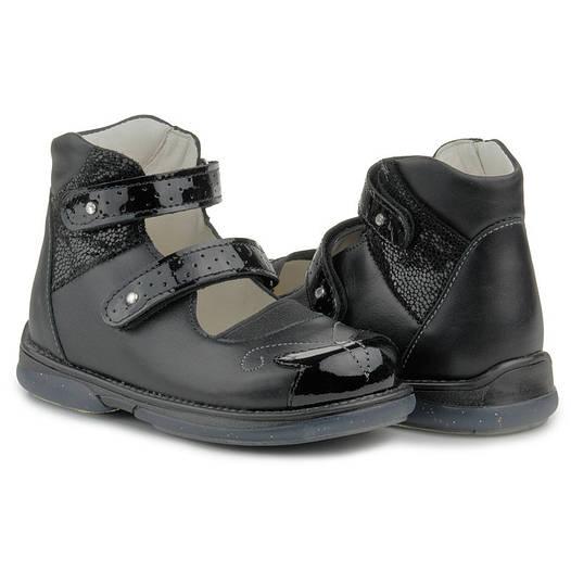 Memo Princessa 3LY Черные Ортопедические туфли для девочек