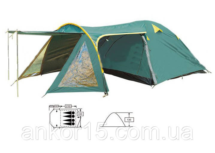 Палатка кемпінгові 4-х місна з тентом і тамбуром Zelart 207-4