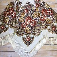 Нарядный женский платок большого размера (135х135см, бежевый, 80%-шерсть)