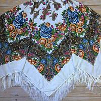 Красивый женский платок большого размера (135х135см, белый, 80%-шерсть)