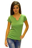 Зеленая футболка женская спортивная летняя с коротким рукавом однотонная мятная хб трикотажная (Украина) 42