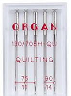 Набор игл ORGAN 130/705H-QU QUILTING (75/11, 90/14) x 5