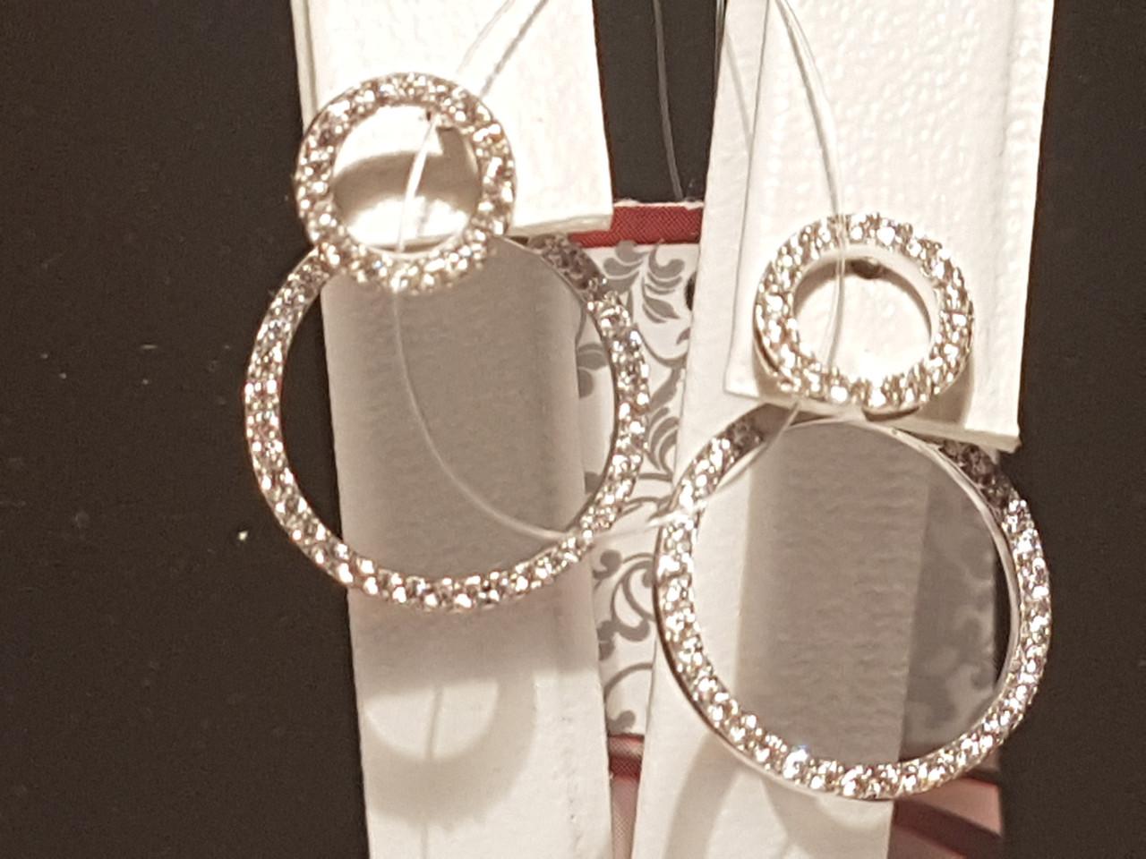 Серебряные серьги фианитами. Артикул 902-00943
