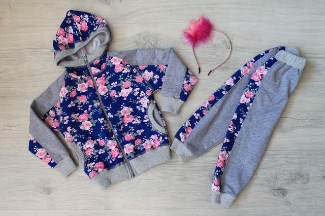 детский спортивный костюм для девочки цветочный рисунок style-baby.com