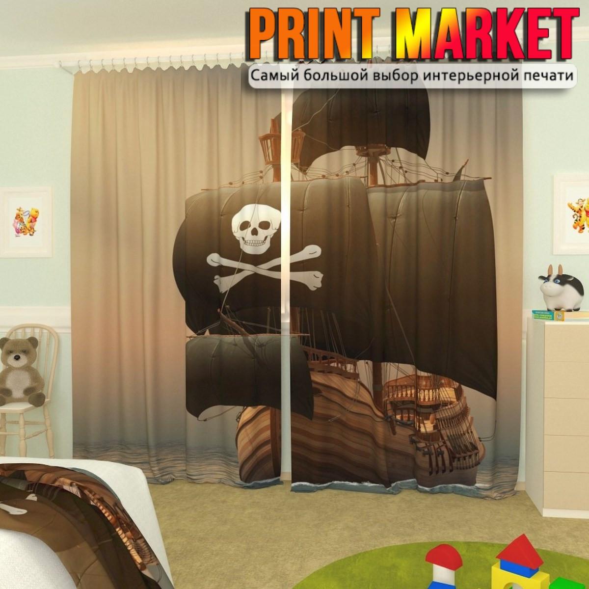 Фотошторы для детской пиратский корабль