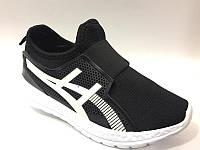Легкие весенние кроссовки-сетка Asics для мальчиков черные. 31,32,33,34р.