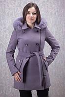 Пальто женское зимнее с песцом Д 35