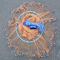 Кастинговая сеть Американка с кольцом ФРИСБИ диаметр 4,2 метра, высота 2 метра, НИТКА яч. 12 мм