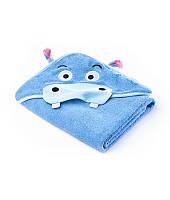 Полотенце Sensillo с 3D вышивкой и капюшоном 100х100 - blue