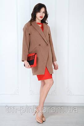Жіноче пальто оверсайз кашемір трикутні кишені коричневе