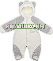 Утеплённый велюровый человечек р. 62 для новорожденного с махровой подкладкой 3429 Серый