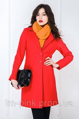 Жіноче пальто класичне пресована шерсть червоне