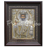 Икона  «Святой Николай Чудотворец» Греция, Loudaros,серебро 950, позолота, инкрустаця 44х35 см.