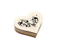 Шкатулка-сердечко Узор с прорезной крышечкой маленькая, фото 1